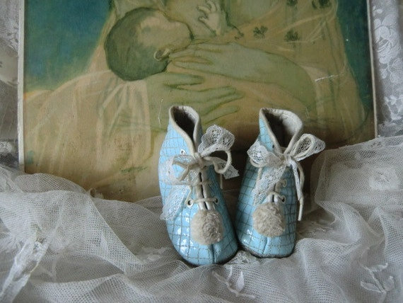 Vintage pastel blue baby shoes sweet french shabby