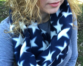 Star Scarf Holiday Scarf American Star Scarf Holiday Deals Flash Sale Items American Flag Navy Blue White Star Patriotic Scarf bright stars