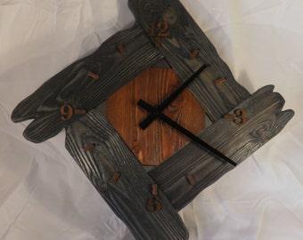 Wood Geometry wall clock, Rustic, Clock of distressed wood