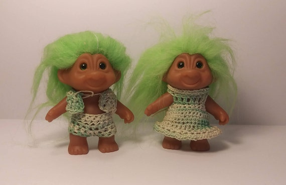 Troll Dolls Vintage Green Hair Troll Couple Crochet Clothes Etsy