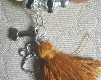 Handmade bead, tassel and charm necklace