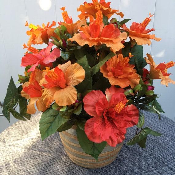 Faux Silk Floral Arrangement Vivid Orange Hibiscus Orange Etsy