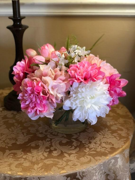Pink Tulips Spring Floral Arrangement Faux Silk Flower Etsy