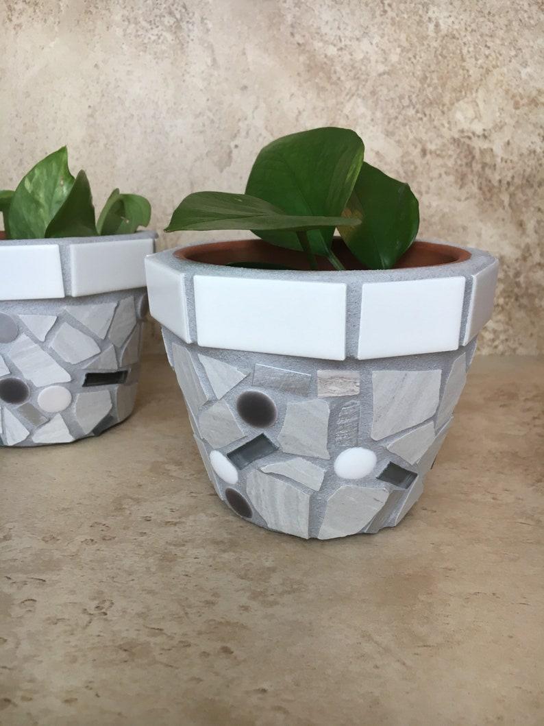 kitchen window plant container Small mosaic flower pots outdoor storage pot handmade patio planter tile /& glass pots succulent planters