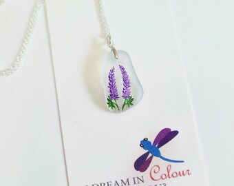 Lupin Necklace- Sea Glass Pendant- Wearable Art- Hand Painted Necklace- Wildflowers- Nova Scotia Wildflowers- Lupines- Purple Flower Pendant