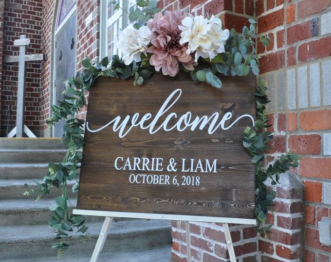 Featured listing image: Wedding Welcome Sign | Wedding Entrance Sign | Rustic Wedding Decor | Rustic Wedding Sign | Country Wedding | Bestseller Sign