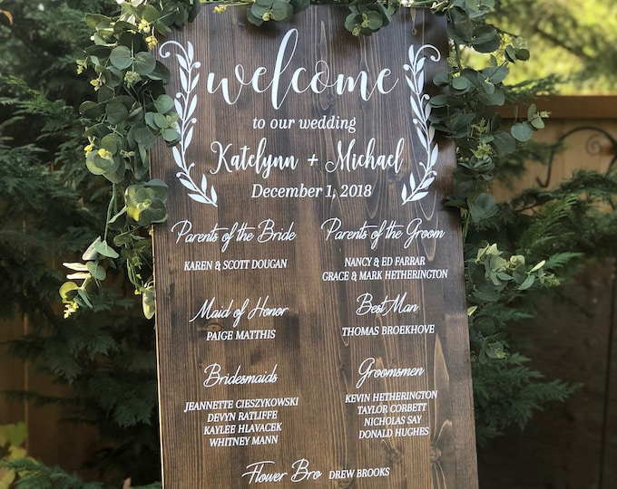 Featured listing image: Bridal Party Sign | Wedding Program Sign |Wedding Welcome Sign | Ceremony Sign | Alternative Wedding Program | Rustic Wedding Decor