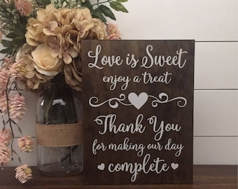 Rustic wedding decor etsy love is sweet enjoy a treat sign wedding table sign dessert table sign wood wedding sign rustic wedding decor thank you wedding sign junglespirit