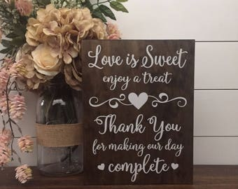 Rustic wedding decor etsy love is sweet enjoy a treat sign wedding table sign dessert table sign wood wedding sign rustic wedding decor thank you wedding sign junglespirit Images