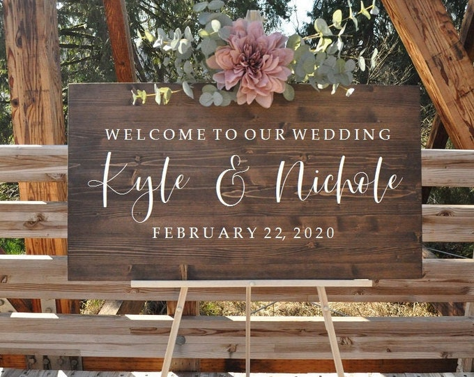 Featured listing image: Wedding Welcome Sign | Wedding Entrance Sign | Rustic Wedding Decor | Country Wedding Bestseller Wedding Sign