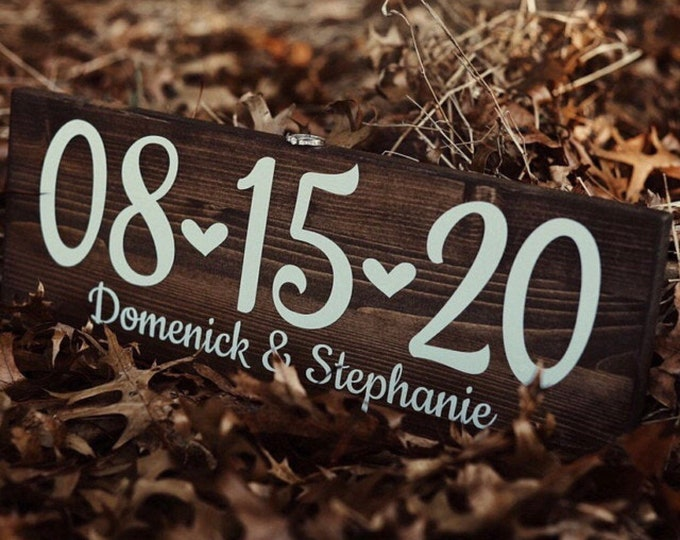Featured listing image: Engagement Photo Save the Date Sign Wedding Date Sign, Rustic Wedding Decor, Special Date Sign, Wedding Photo Prop, Engagement Announcement