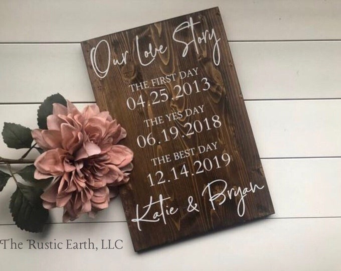 Featured listing image: First Day Yes Day Best Day Sign, Love Story Sign Special Dates Sign Wedding Date Sign, Anniversary Gift Bridal Shower Valentines Holiday