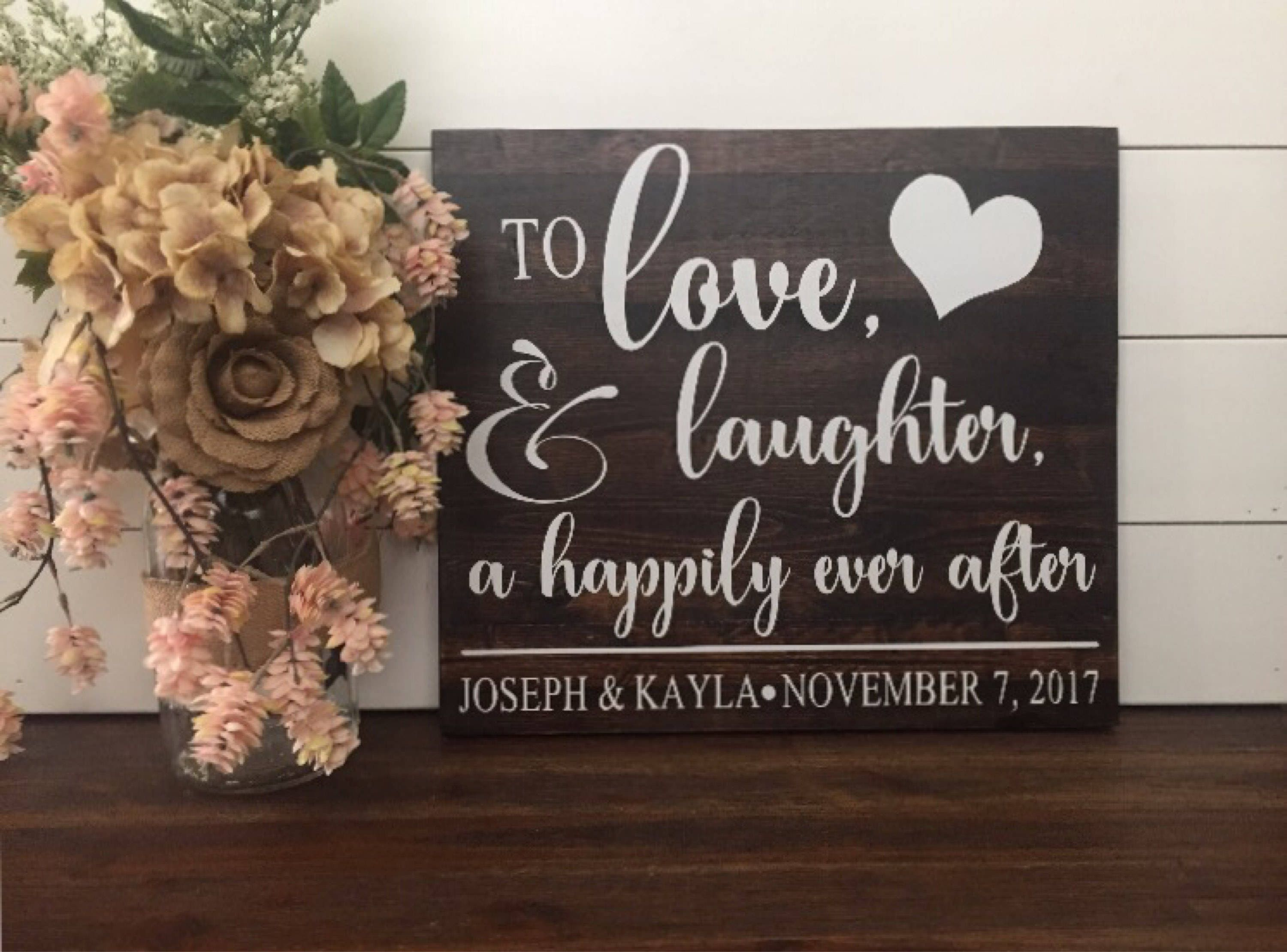 Wooden Wedding Signs.Love Laughter Happily Ever After Wedding Sign Wood Wedding