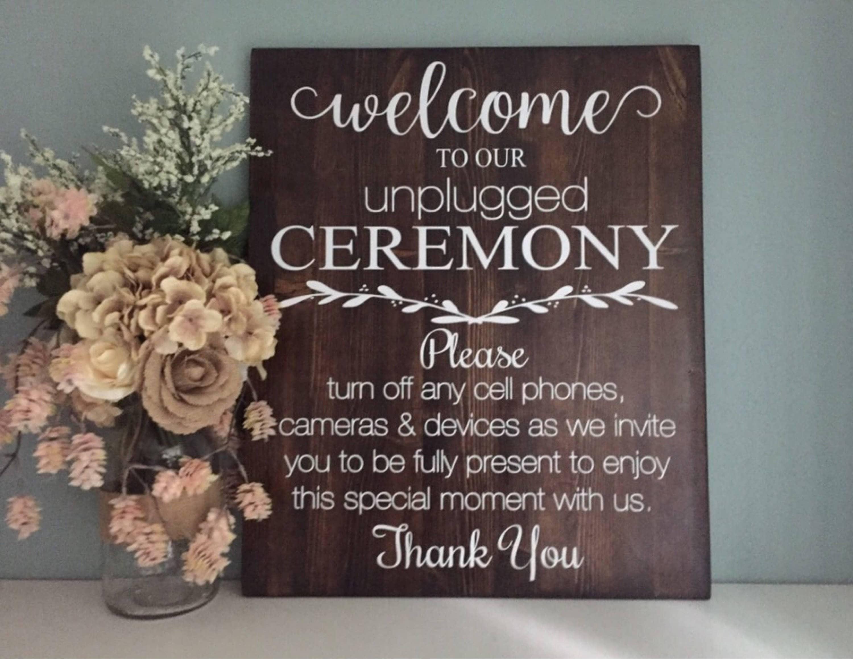 Unplugged Wedding Sign / Wood Wedding Welcome Sign