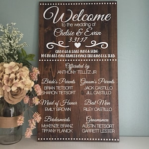 wedding program sign bridal party sign alternative wedding