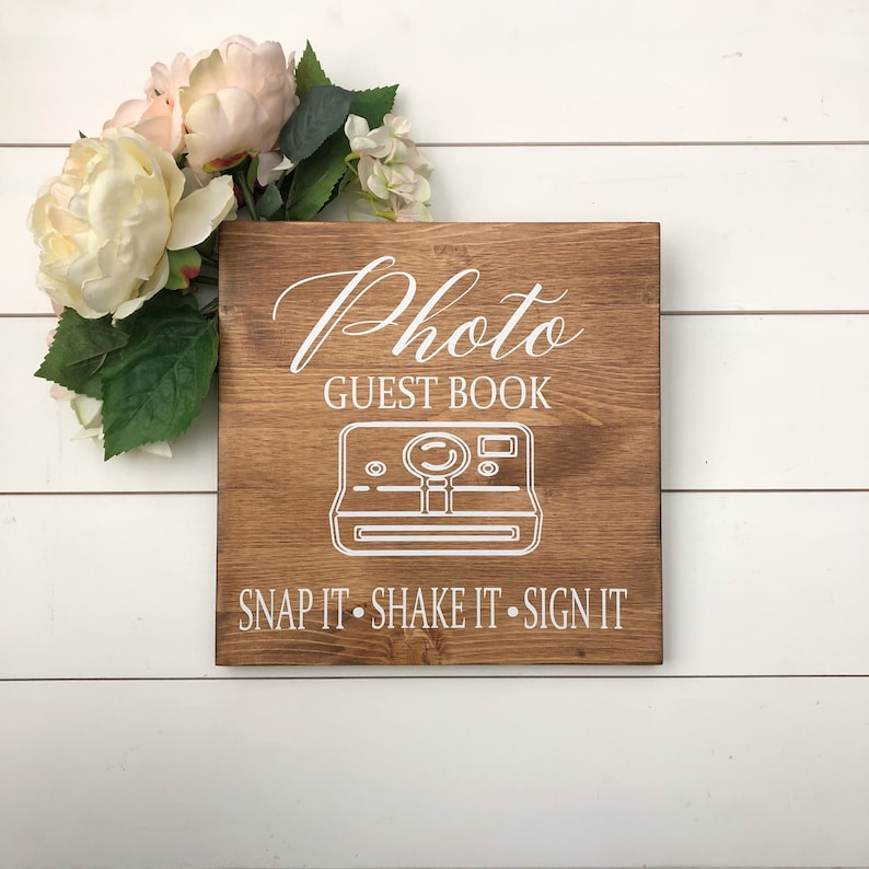Polaroid Wedding Guest Book.Wedding Photo Guest Book Sign Polaroid Wedding Guestbook Snap It Shake It Sign Wood Wedding Sign Rustic Wedding Sign Please Sign