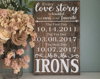Every Love Story Is Beautiful Sign, Our Love Story Sign, First Day, Yes Day, Best Day Sign, Special Dates Sign Wedding Gift Anniversary Gift