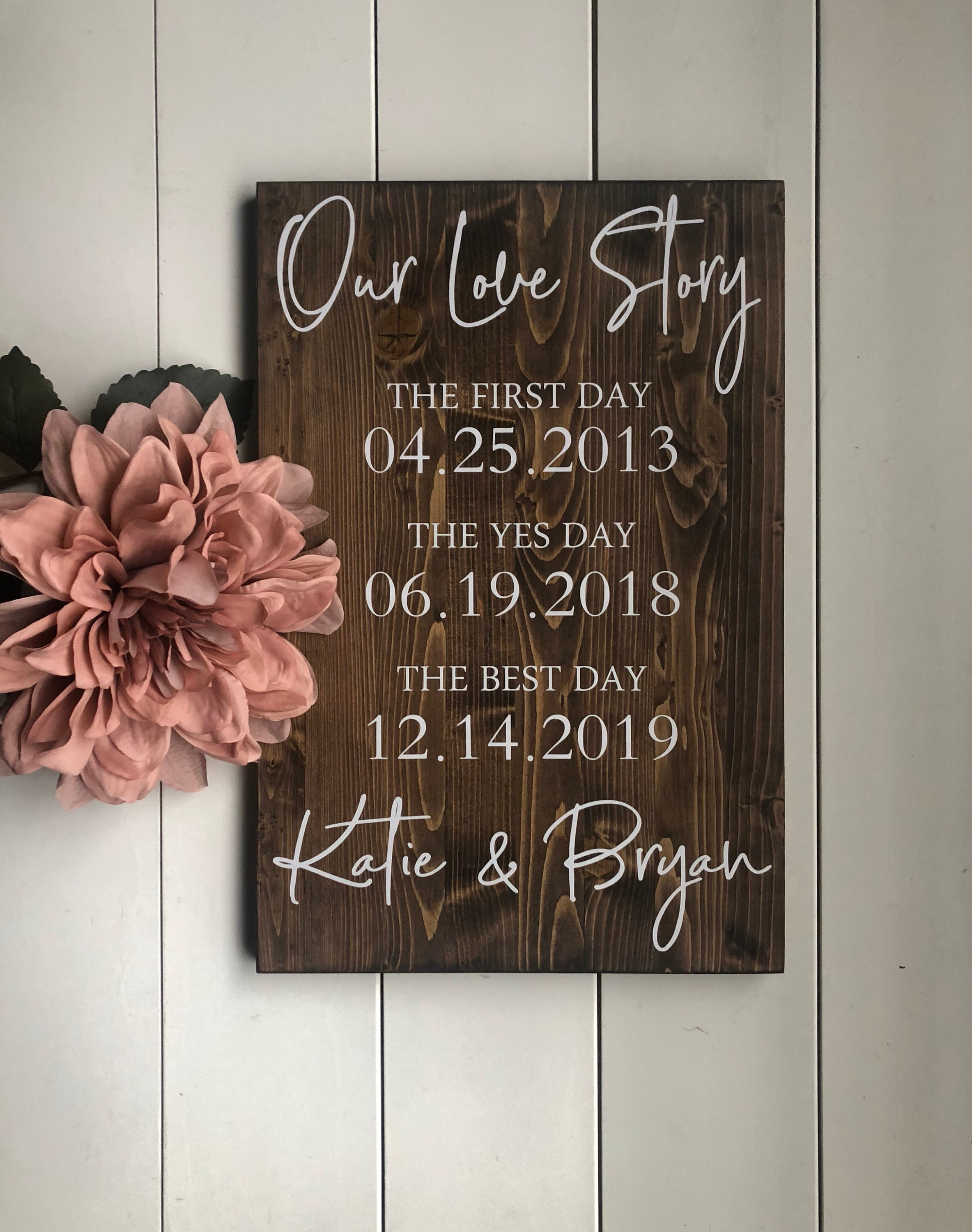 First Day Yes Day Best Day Sign, Love Story Sign Special Dates Sign Wedding Date Sign