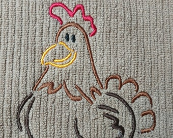 Rooster embroidery design on taupe bar mop towel