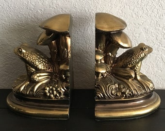 Frog Bookends, Brass Bookends, Frog Decor, Brass Book Ends,Vintage Bookends,Vintage Book Ends,Woodlands Bookends,Frog Decorations,Frog Lover