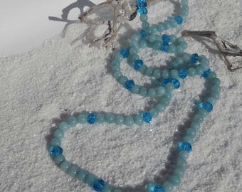 Blue agate and Crystal Necklace
