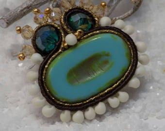 "pendentif soutache "" Machu Picchu "" turquoise"