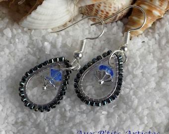 "earrings, ""brick stitch blue & black"""