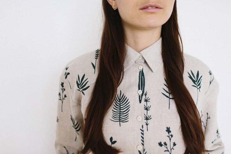 Camicia di lino donne camicia di lino manica lunga modello image 0