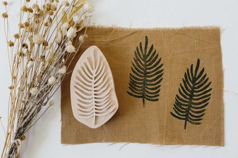 pottery stamp botanical print Textile Stamp for leaf print pottery tool Fabric stamp carved stamp clay stamps