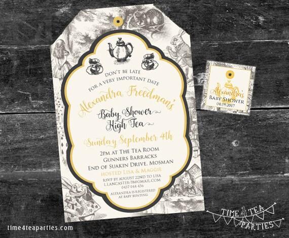 Alice In Wonderland Tea Bag Tea Party Invitation Bridal Tea Baby Shower Kitchen Tea High Tea Birthday Tea Party Printable