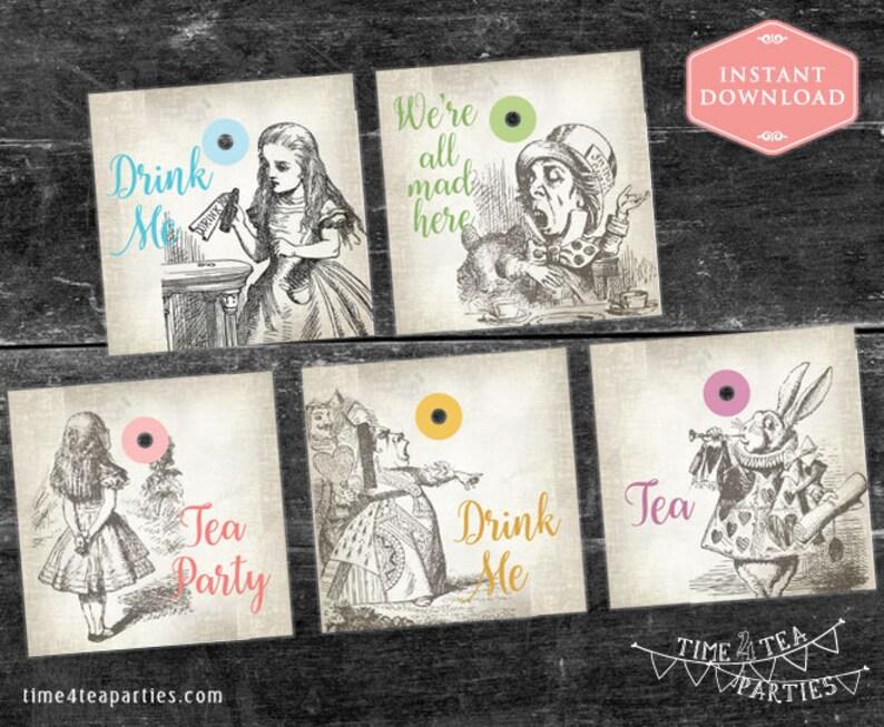 1f6b40761ba4 Alice in Wonderland Tea Bag Tags. Download Today. Printable | Etsy