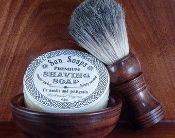 Walnut shaving bowl with matching walnut badger hair (or vegan) brush and choice of soaps