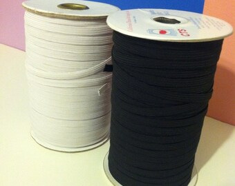 """5 or 10 yards of 1/4"""" American made braided elastic.  Black or white."""