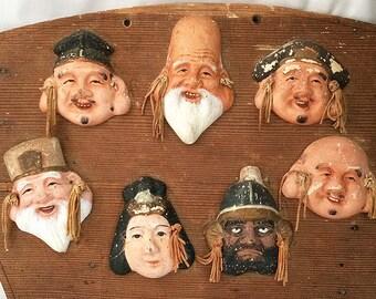 Vintage SEVEN LUCKY GODS Wood Plaque 7 Lucky Gods Immortals Japanese Figures Ebisu Daikoku Prayer Board Good Luck Figurines