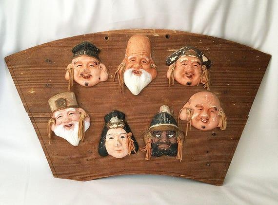 Vintage SEVEN LUCKY GODS Wood Plaque 7 Lucky Gods Immortals
