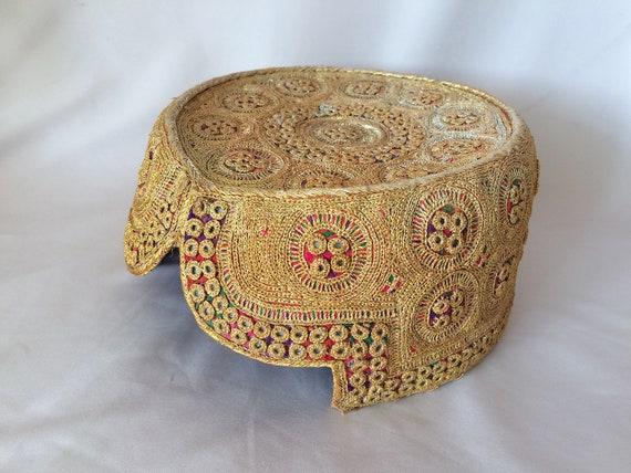 Vintage Goldtone EMBROIDERED UZBEK HAT, Uzbek Embr
