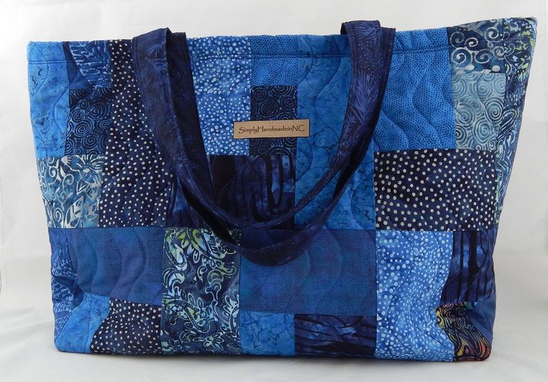 9644959cae16 Quilted Tote Bag with Pockets, Blue Batik Patchwork Bag for Knitting  Projects, Gym, Travel, Market, Shopping, Large 16.5
