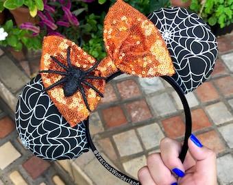 Orange Spider web Halloween Mouse Ears