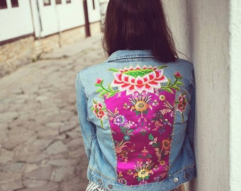 Embellished Denim Jacket, Oriental brocade jacket