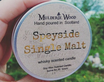 Speyside Single Malt Whisky Whiskey Scotch Scented Soy Wax Tin Candle Handmade in Scotland