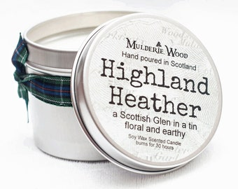 Highland Heather Scottish Glen Scented Soy Wax Tin Candle Handmade Scots Highland Outlander Scent