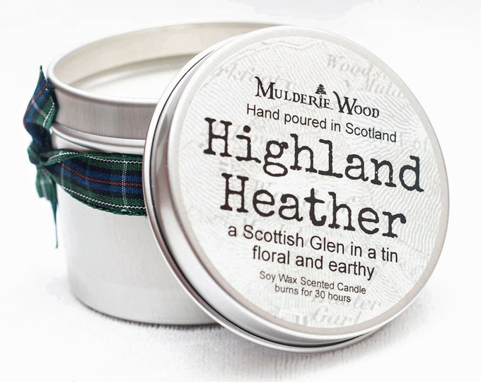 Featured listing image: Highland Heather Scottish Glen Scented Soy Wax Tin Candle Handmade Scots Highland Outlander Scent
