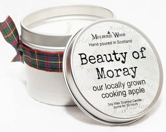 Heritage Apple 'Beauty of Moray' Scented Natural Soy Wax Handmade in Scotland Tin Candle Scots Gift