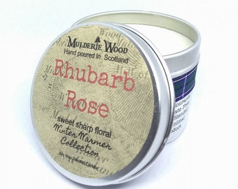 Rhubarb Rose Highly Scented Sweet Floral Handmade Soy Wax Candle Vegan