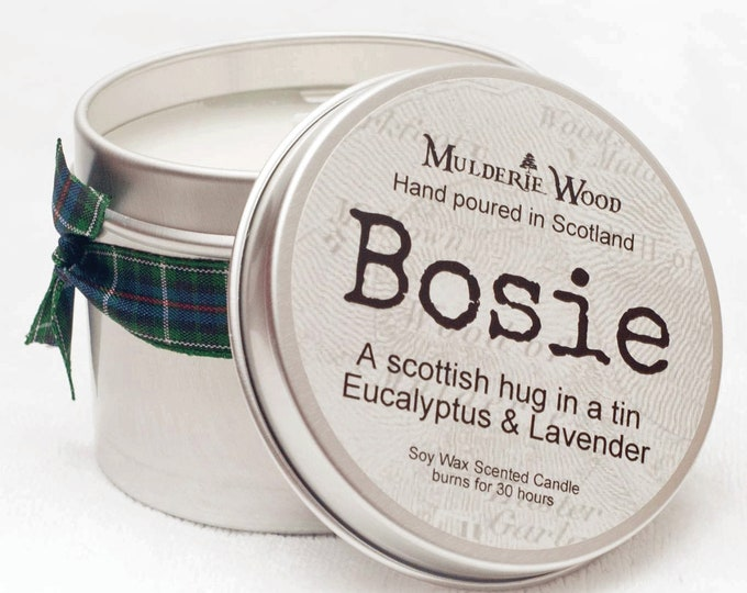 Featured listing image: Bosie Lavender and Eucalyptus Scottish Hug Soy Wax Soothing Tin Candle Scots Doric Highland Language Gift