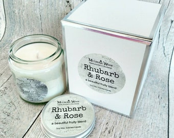 Rhubarb and Rose Highly Scented Natural Soy Wax Handmade Gift Boxed Gift Ready Glass Jar Candle