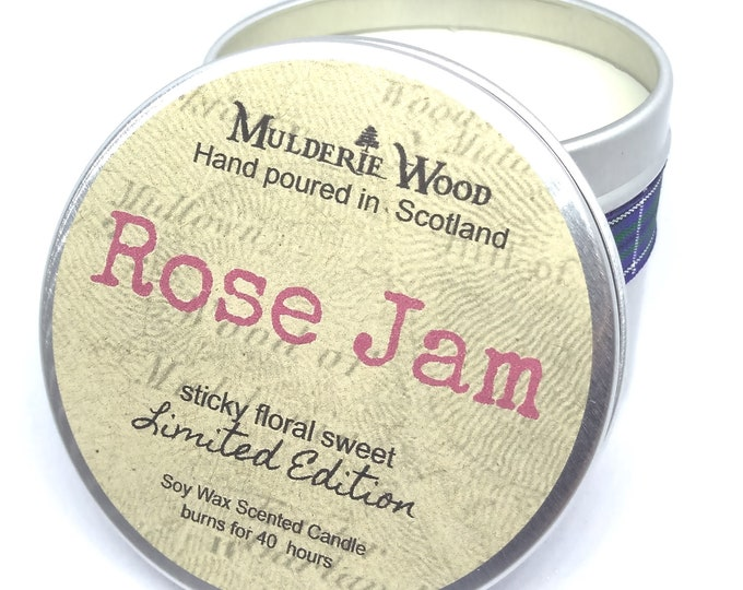 Featured listing image: Rose Jam 100% Soy Wax Floral Sweet Lush Tin Candle