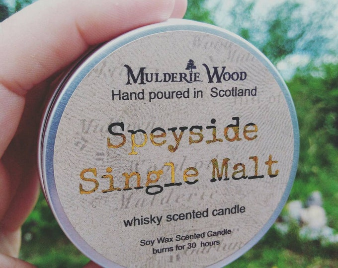 Featured listing image: Speyside Single Malt Whisky Whiskey Scotch Scented Soy Wax Tin Candle Handmade in Scotland