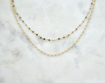 Double Tourmaline Gold Chain Necklace