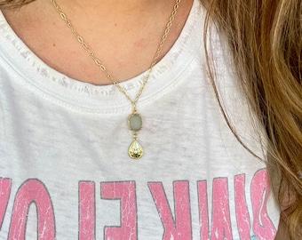 Druzy North Star Tear Drop Necklace